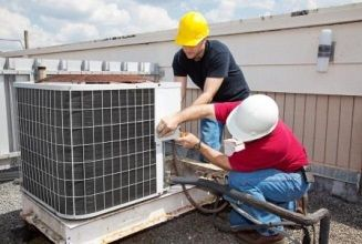 commercial HVAC professionals at work